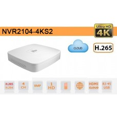 NVR IP 4K ULTRA-HD 4 Canali 8MP 1HDD P2P - Dahua - NVR2104-4KS2