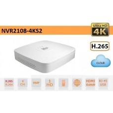 NVR 8 CANALI IP 4K 8MPX ULTRA-HD H.265 AUDIO - DAHUA - NVR2108-4KS2