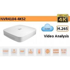 NVR IP a 4 Canali 4K&H.265 fino a 8MP 1HDD - Serie Lite - Dahua - NVR4104-4KS2