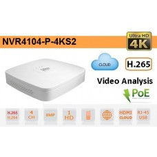 NVR IP a 4 Canali 4K&H.265 fino a 8MP 1HDD PoE - Dahua - NVR4104-P-4KS2
