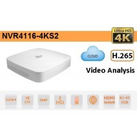 NVR IP 16 Canali 4K&H.265 fino a 8MP 1HDD - Serie Lite - Dahua - NVR4116-4KS2