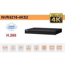 NVR IP 16 Canali H.265 4K 8MP 200Mbps Video Analisi - Dahua - NVR4216-4KS2
