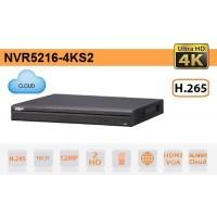 NVR IP 16 Canali 4K Ultra-HD 12Mpx 320Mbps H.265 - Serie Pro - Dahua - NVR5216-4KS2