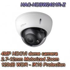 Telecamera Dome HDCVI 4MP 2.7-12mm Motorizzata VandalProof 120dB - Pro Dahua - HAC-HDBW2401R-Z