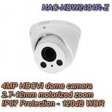Telecamera Dome Eyeball HDCVI 4MP 2.7-12mm Motorizzata 120dB - Pro Dahua - HAC-HDW2401R-Z