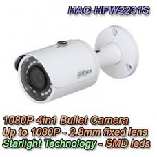 TELECAMERA BULLET 4IN1 STARLIGHT 2MP 2.8MM WDR DAHUA - HAC-HFW2231S