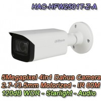 Telecamera Dahua 5MP 4in1 Motorizzata Starlight IR 80 Audio - HAC-HFW2501T-Z-A