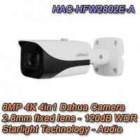 TELECAMERA DAHUA 8MP 4K 2.8MM STARLIGHT AUDIO - HAC-HFW2802E-A