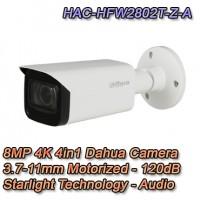 TELECAMERA DAHUA 8MP 4K MOTORIZZATA STARLIGHT AUDIO - HAC-HFW2802T-Z-A