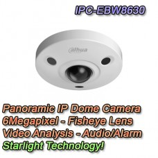 TELECAMERA IP PANORAMICA 6MP STARLIGHT FISHEYE POE - DAHUA - IPC-EBW8630
