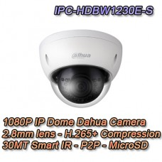 Telecamera IP FULL HD Dome 2.8mm IK10 PoE - Dahua - IPC-HDBW1230E-S