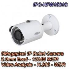 Telecamera IP esterno PoE 5MP 2.8mm WDR IR Dahua - IPC-HFW1531S