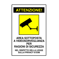 Cartel surveyed zones - CARTEL AREA video surveillance Alluminium
