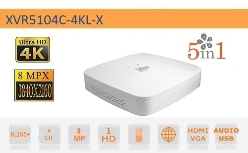 DVR 4 CANALI 8MP HD CVI AHD TVI ANALOGICO IP 4K - DAHUA - XVR5104C-4KL-X