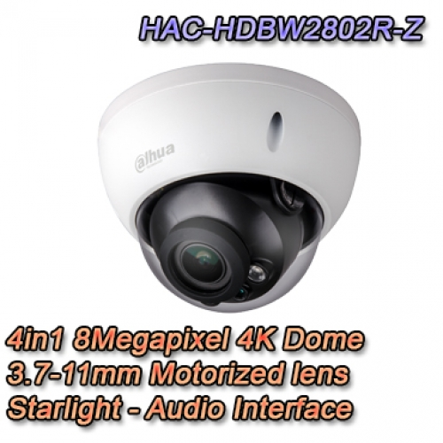 Telecamera Dahua 4in1 8MP Motorizzata Starlight Audio - HAC-HDBW2802R-Z