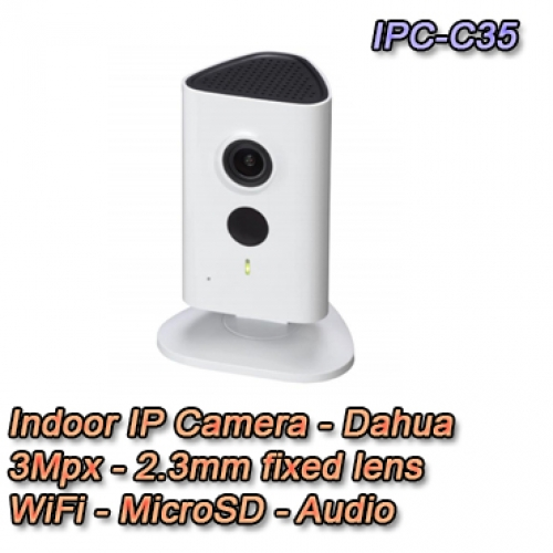 Telecamera IP da interno 3MP HD WiFi e IR LED - Serie C - Dahua - IPC-C35